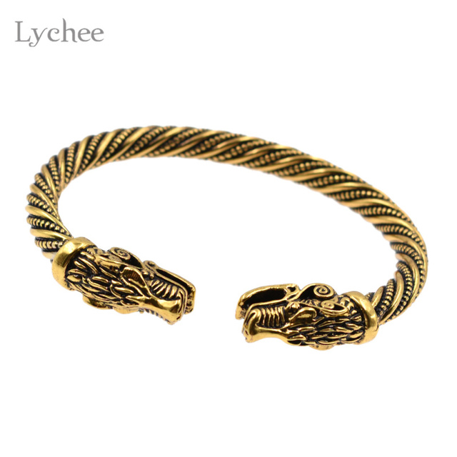 Lychee Vintage Viking Dragon Head Bracelet Antique Gold Color Open Bangle Wristband Jewelry For Men