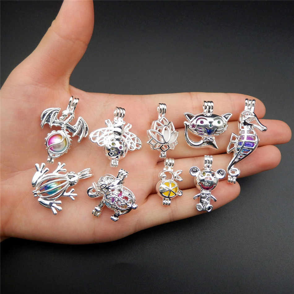 9pcs Silver Plated mixture Cage Jewelry Making Supplies Copper Beads Cage Pendant Essential Oil Diffuser Trendy Locket Gift