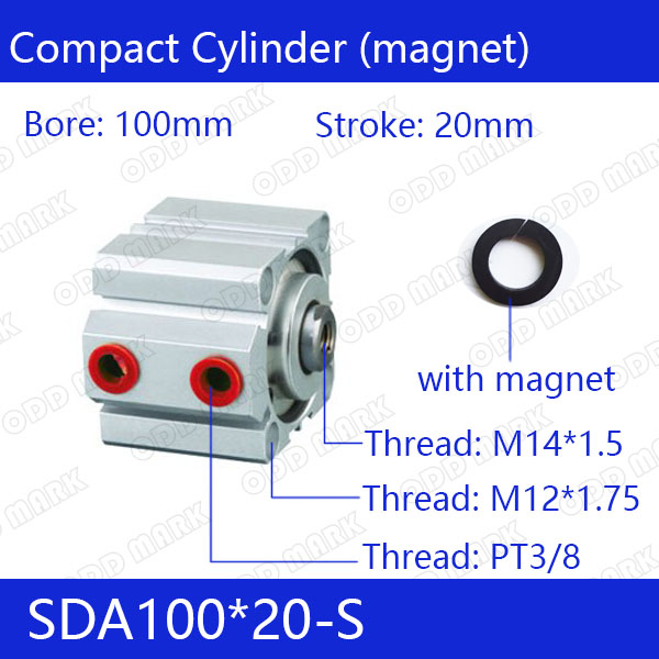 SDA100*20-S Free shipping 100mm Bore 20mm Stroke Compact Air Cylinders SDA100X20-S Dual Action Air Pneumatic Cylinder tn20 100 free shipping 20mm bore 100mm stroke compact air cylinders tn20x100 s dual action air pneumatic cylinder