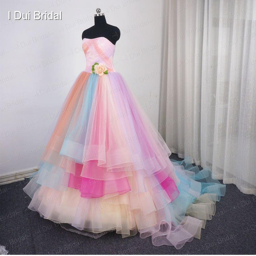 Candy color vestido de novia sin tirantes del vestido de bola de ...