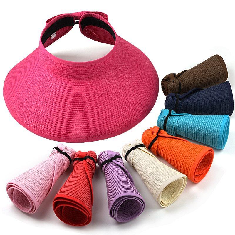 Sombreros para mujeres paja Sol visera con cabeza grande sombrero de ala  ancha playa protección UV mujer CAPS nuevo moda en Sombreros de sol de  Accesorios ... f765c3dd71c