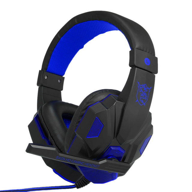 Gaming Headset Headphones for PC with Microphone with USB 3.5mm Interface LED Volume Control Over-ear Headphone