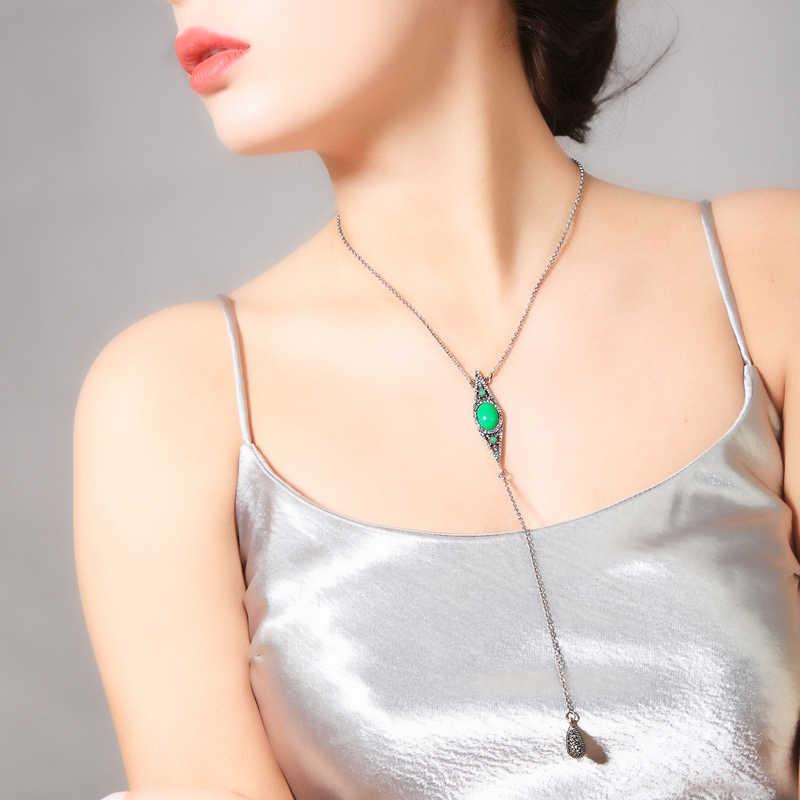 Novo luxo ajustável longo verde colar de cristal para jóias femininas bohemia na moda acessórios presente nupcial atacado