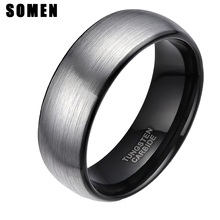 8mm Мужская купол щеткой карбида вольфрама кольца черный инкрустация обручальное мужчины обручальные кольца для женщин Мода Анель masculino