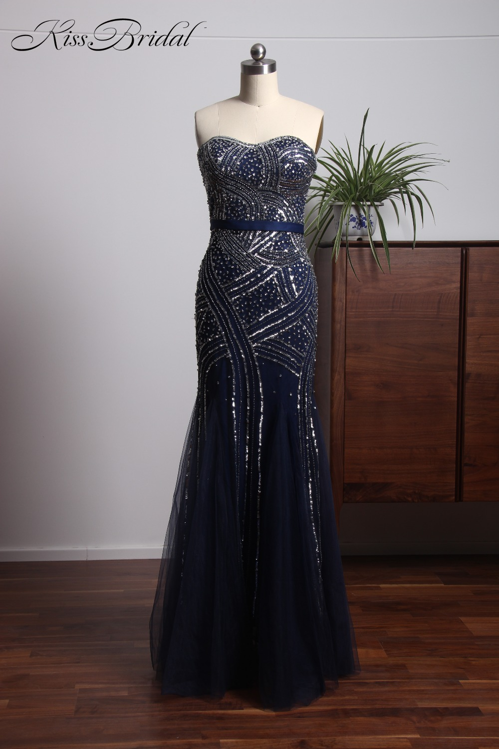 Stunning Beautiful Tulle Navy Blue Evening Dresses Long