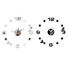 3D DIY настенные часы домашний декор черная птица акриловая зеркальная поверхность креативная личность художественные Современные часы настенные часы