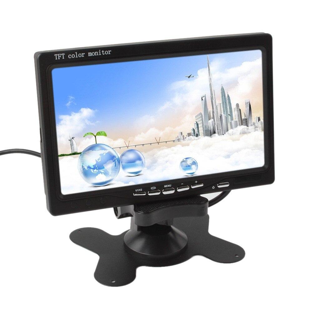 7 дюймов цветной TFT LCD12V автомобильный монитор заднего вида подголовник монитор с 2 каналами видео вход для DVD VCD камера заднего вида