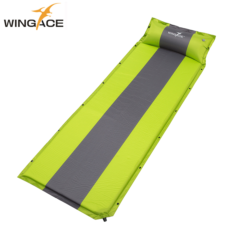 626ea33a0 WINGACE Colchão de Ar Inflável Camping Mat Com Pillow Ultraleve Ao Ar Livre  Esteira de praia Colchão Inflável Automática Almofada de Dormir