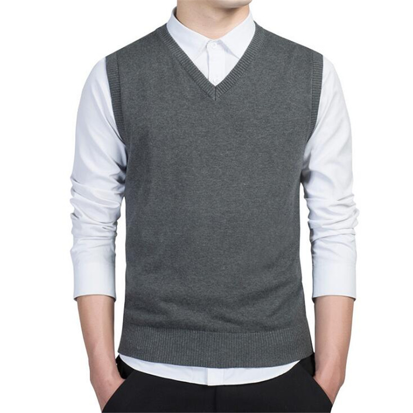 Men's New Casual Simple Solid Color V-neck Sleeveless Mens Sweater Fashion Business Casual Elastic High Quality Men Sweaters