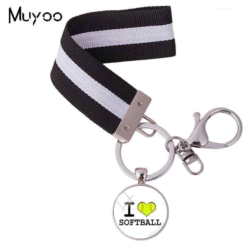 """2018 moda llegada estilo deportivo """"Softball My Sport My Game My Life"""" Cristal cabujón plata llavero cinta redonda anillo de llave"""