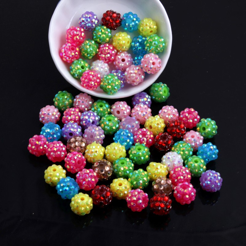 OYKZA Colorful 20mm/10mm To 26mm Resin Rhinestone Beads For Kid's Chunky Fashion Jewelry Beads Necklace Making!