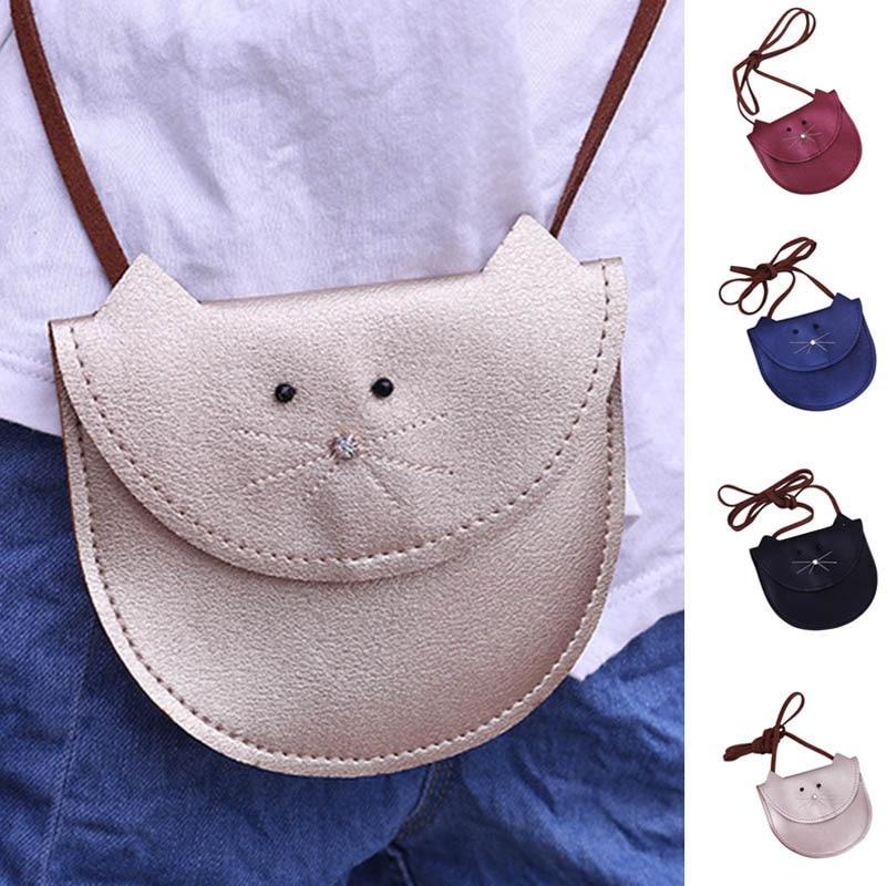 New Fashion Children Girls Cute Cat Shoulder Bag Handbag Purse Wallet PU  Leather Messenger Crossbody Bags 333bbe7079186