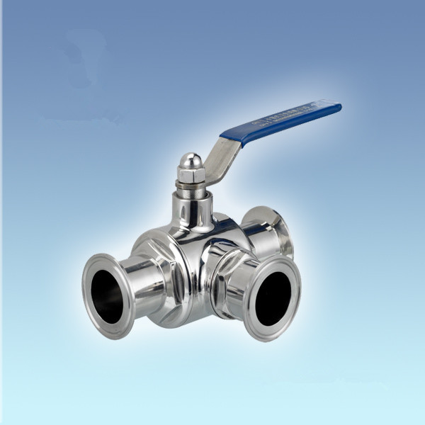 SS304 Stainless 3/4 Sanitary TriClamp Ball Valve, T Type w/ 50.5mm Clamp Flange, Three Way Clamped Ball Valve 3 4 3 way stainless steel ss304 pneumatic electric ball valve