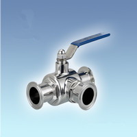 SS304 Stainless 3/4 Sanitary TriClamp Ball Valve, T Type w/ 50.5mm Clamp Flange, Three Way Clamped Ball Valve