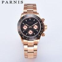 Fashion Parnis 39MM Quartz Men Waterproof Watch Chronograph Luminous Rose Gold Stainless Steel Strap Mechanical Men's Watches