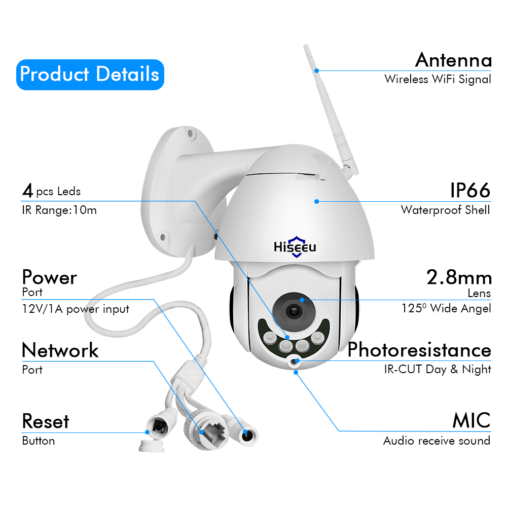 Image 5 - Hiseeu 1080P Wireless PTZ Speed Dome IP Camera WiFi Outdoor Two Way Audio CCTV Security Video Network Surveillance Camera P2P-in Surveillance Cameras from Security & Protection