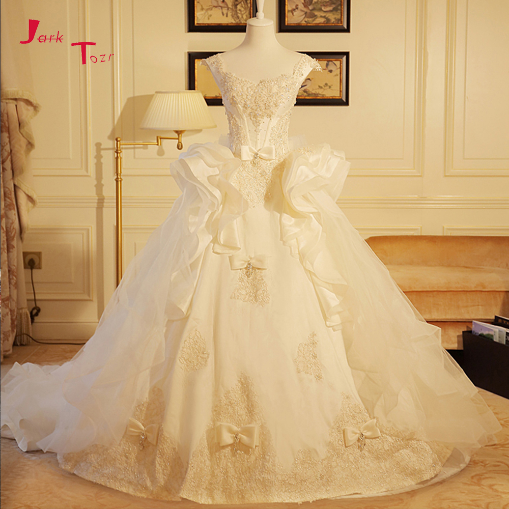 Jark Tozr Custom Made Bow Bridal Gowns With Petticoat Vestidos de Novia Sparkly Crystal Pearls Wedding Dress 2018 Robe De Mariee