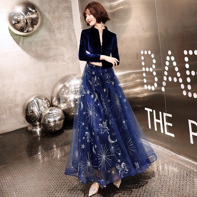 2019 robe de soirée à manches longues velours Abiti Da Cerimonia arabe bleu marine robe formelle longue fête robes de bal LF306