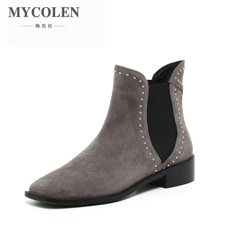 MYCOLEN Chelsea Boots Women Fashion Quality Women Ankle Boots Genuine Leahter Platform Ladies Shoes Bottes Femmes En Cuir frank g slaughter femmes en blouse blanche