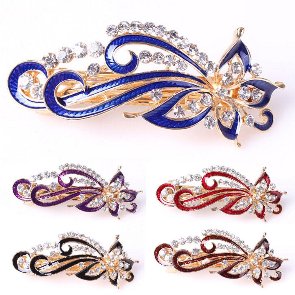 67facfc68f86 Moda chicas broches brillante de diamantes de imitación de cristal  horquilla Vintage de flores las mujeres pelo Clip accesorios de la joyería