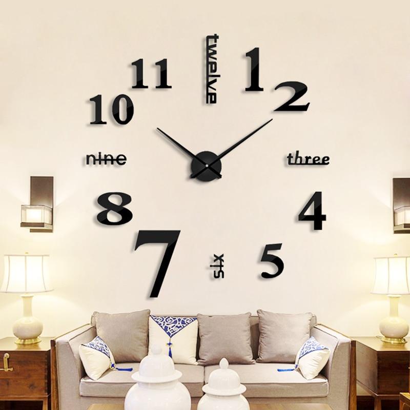 fashion 3D big size wall clock  metal DIY brief living room meeting