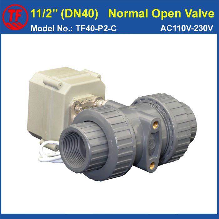 PVC 11/2'' Normal Open Valve TF40-P2-C AC110V-230V 2 Wires 2 Way DN40 BSP or NPT Thread 10NM On/Off 15 Sec Metal Gear CE IP67 pvc 11 2 normal open valve tf40 p2 c ac110v 230v 2 wires 2 way dn40 bsp or npt thread 10nm on off 15 sec metal gear ce ip67