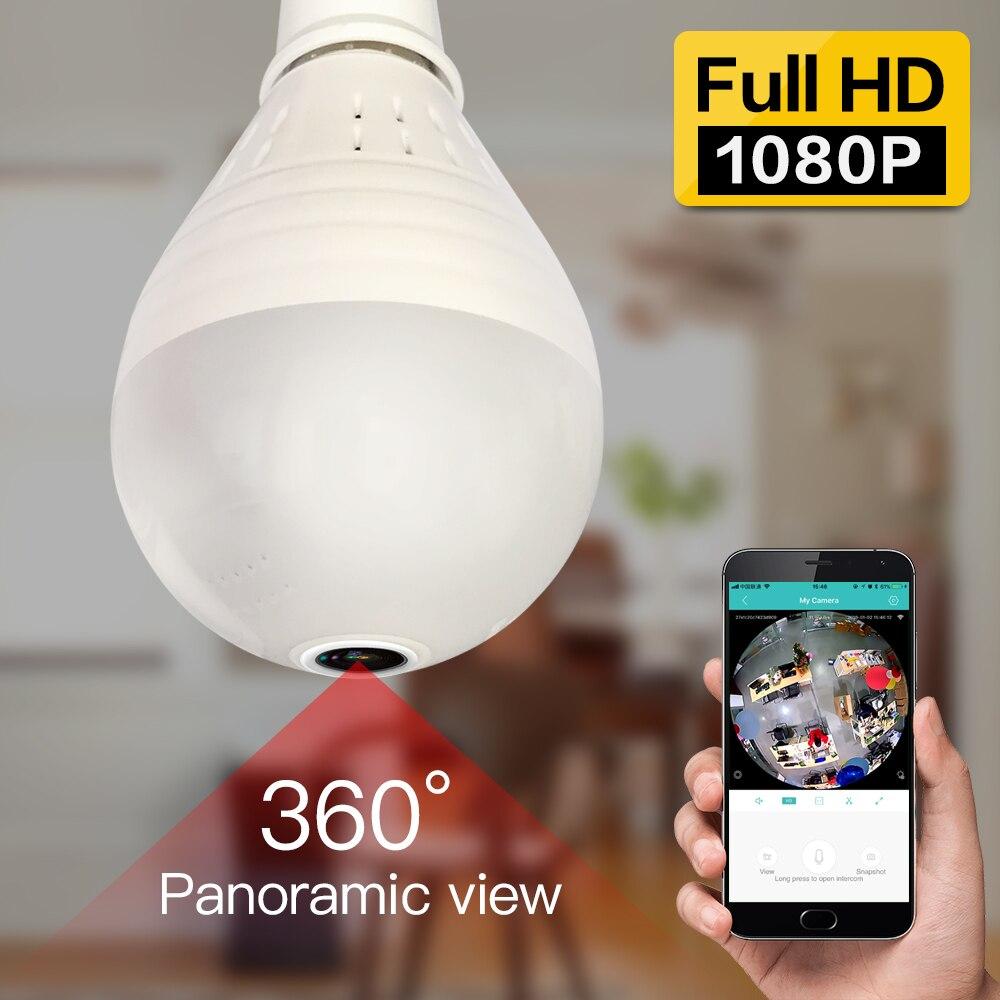 SDETER 2MP 360 Graus Câmera IP Sem Fio Wi-fi Bulbo de Luz IR Casa Câmera De Segurança de 2 Vias De Áudio P2P FishEye Panorâmica até 128 GB