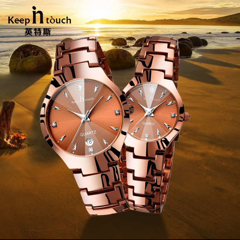 купить Stainless Steel Couple Watches Top brand Luxury Mens Watch Lovers Fashion Quartz Waterproof Women's Male Gold Wrist Watches 2018 по цене 658.22 рублей