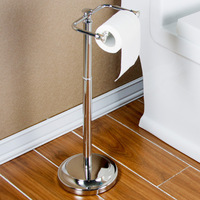 Chrome Stainless steel toilet paper holder Firm Antique tissue holder,17 inch 25 inch Adjustable height,floor type