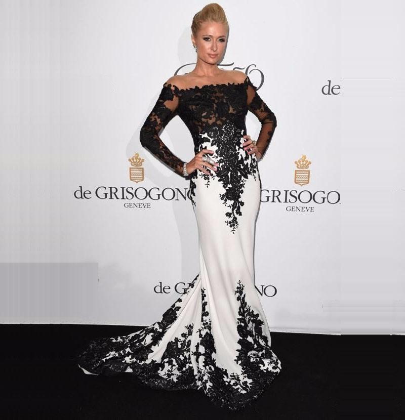 Elegant Off Shoulder Long Sleeve Evening Dresses...