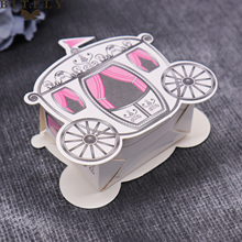 50 pcs wedding decoration fairy tale pumpkin carriage candy box marriage charm shower favor candy boxes