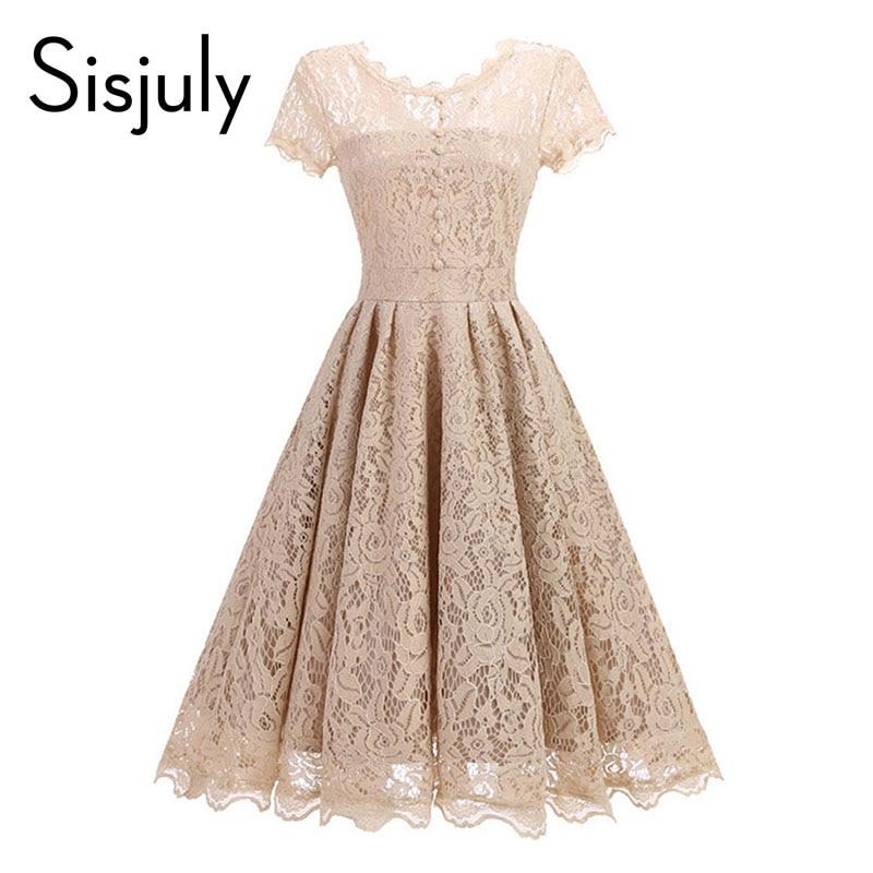Sisjuly vintage women dress a line 1950s summer dress lace o neck black button chic elegant female party dresses for girl 2018