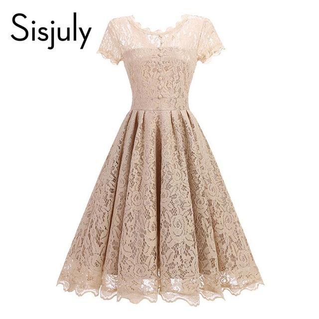 0a03256b7c210 Sisjuly vintage women dress a line 1950s summer dress lace o neck black  button chic elegant
