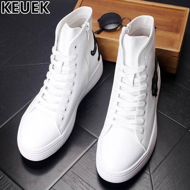 Luxury White High-top shoe Genuine leather Men Fashion Ankle Boots Lace-Up Male Casual shoes Youth popular Dance shoes 03