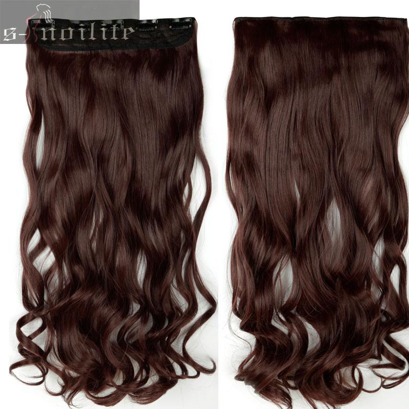 S-noilite, 18-28 дюймов, длинные волосы на заколках для наращивания, 1 шт., синтетические, настоящие натуральные волосы, 3/4, на всю голову, черный, коричневый - Цвет: #33