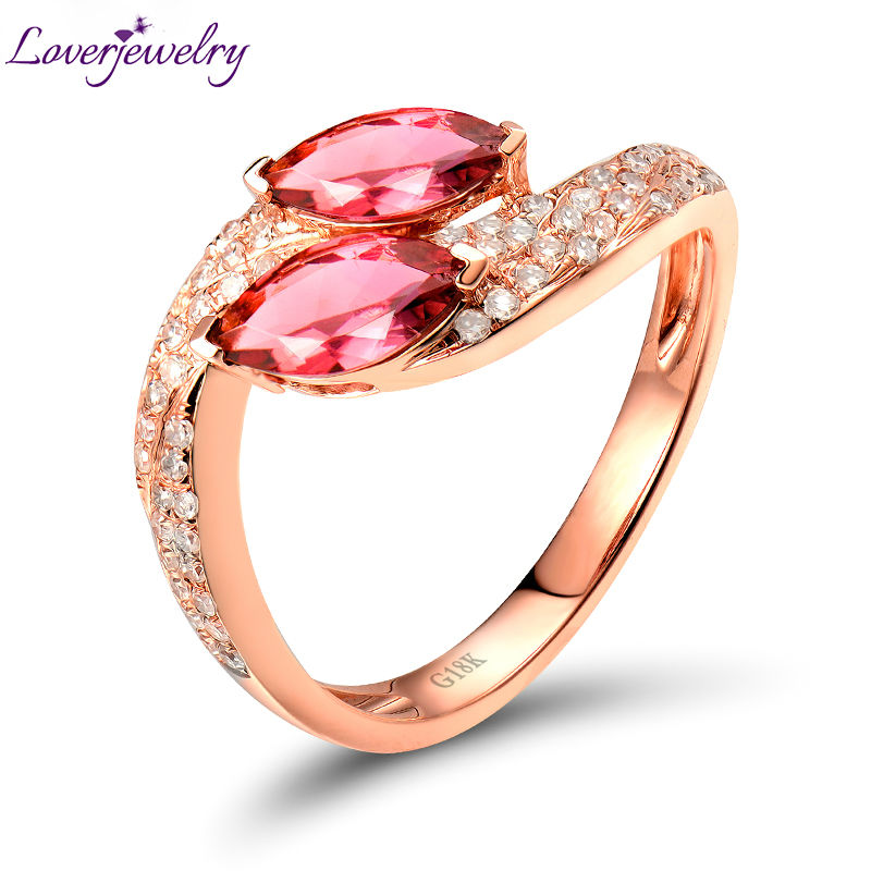 Stunning Marquise Pink Tourmaline Ring,Natural Diamond Ring Solid 18K Rose Gold Ring For Sale SR00133 new pure au750 rose gold love ring lucky cute letter ring 1 13 1 23g hot sale
