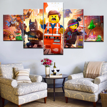 Купить с кэшбэком 5pcs HD Printing Canvas Painting Movie The Lego Movie Art Group Home Decor Wall Poster Modular Picture