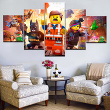 5pcs HD Printing Canvas Painting Movie The Lego Movie Art Group Home Decor Wall Poster Modular Picture(China)