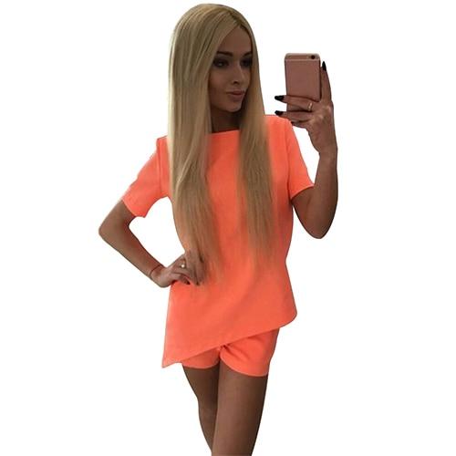 Women Summer Pure Color Casual Back V Neck T-Shirts Short Pants Two Piece Suit