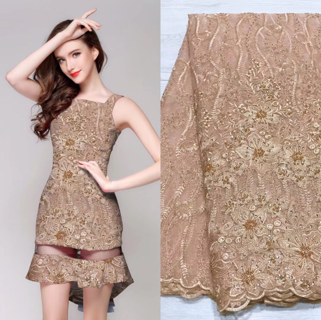 Beautifical african fabrics net lace embroidery beaded fabric for dress latest style beads mix sequins french lace ML5N359