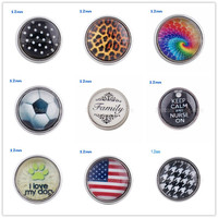 10pcs/lot Special style trendy mini glass printed snap button OEM, ODM 12mm snap jewelry fit snap bracelet bangle Jewelry KT0005