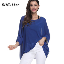 BHflutter Plus Size 2018 Women Tops Tees Batwing Sleeve Casual Loose Chiffon Blouse