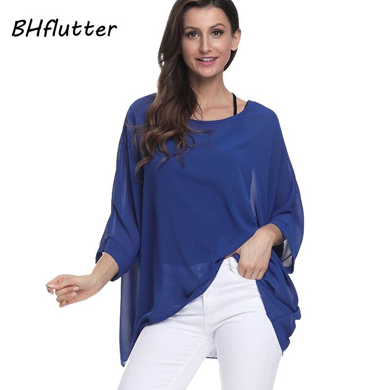 Bhflutter plus size 2018 mulheres topos t batwing manga casual solto chiffon blusa camisa o pescoço blusas de verão sólido blusas
