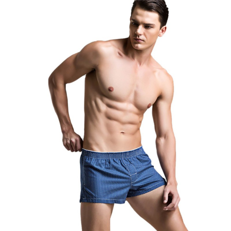 2017 Burst New Polyester-Cotton Low Waist Lattice Mens Flat Underwear Home Pajamas Pants Cool Trunks Six Colors