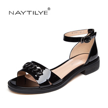 Ankle-Wrap  PU leather sandals for summer 2017 Black color Chain Flat with woman shoes Free shipping NAYTILYE brand