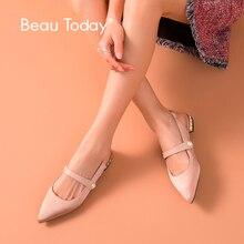 BeauToday 女性サンダルカーフスキンレザー絹の布弾性バンドスリングバックストラップポインテッドトゥクリスタル夏の靴 32168