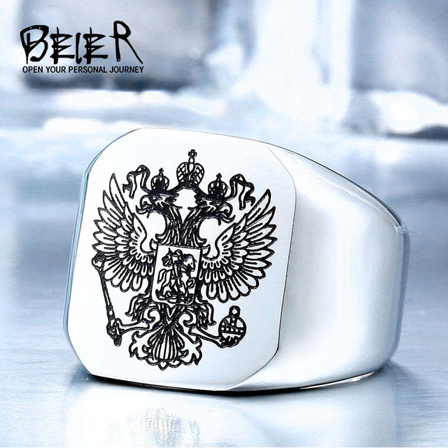 BEIER New Cool Stainless Steel Eagle Man Ring With A Coat Of Arms Of The Russian