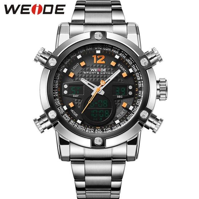 WEIDE Stainless Steel Luxury Watch Men Waterproof Analog Digital Quartz Double Movement Top Quality Auto Date Alarm Stop Watch
