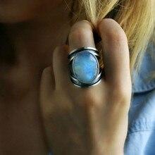 S925 тибетское серебро, модные ювелирные изделия для женщин, натуральный лунный камень, персонализированные кольца для женщин, бижутерия, свадебные украшения, подарок jz412