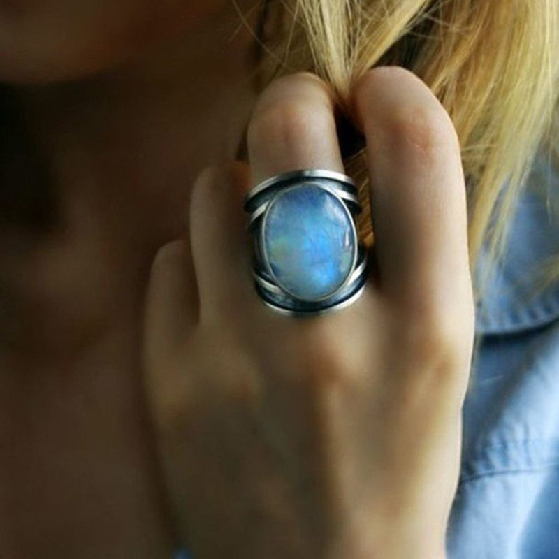 S925 tibétain argent mode Bijoux Femme pierre de lune naturelle anneaux personnalisés pour les femmes Bijoux de mariage Bijoux cadeau jz412